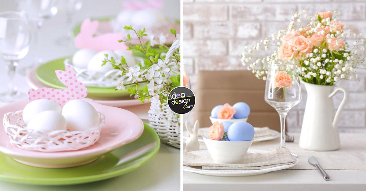 Idee per decorare la tavola di Pasqua in stile shabby chic.