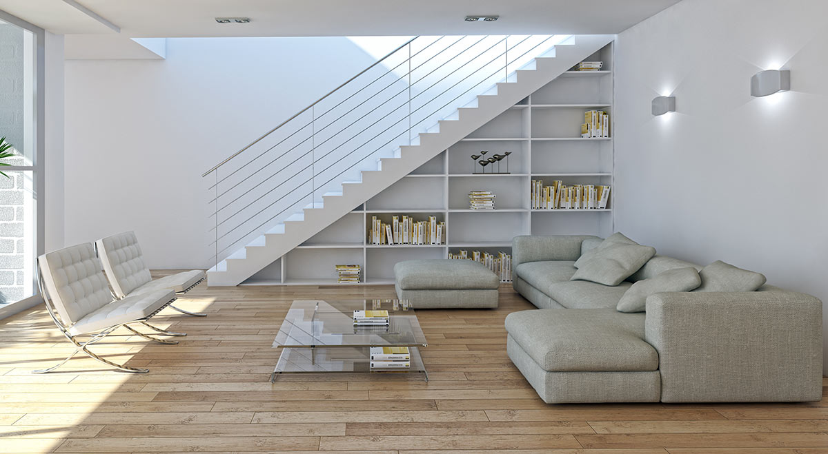 Bellissimo salotto moderno con libreria sotto le scale.