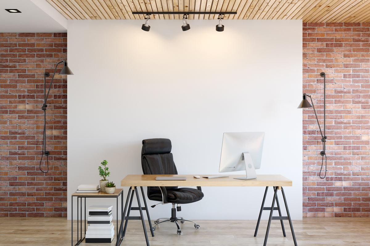 Ufficio in casa arredato in stile vintage.