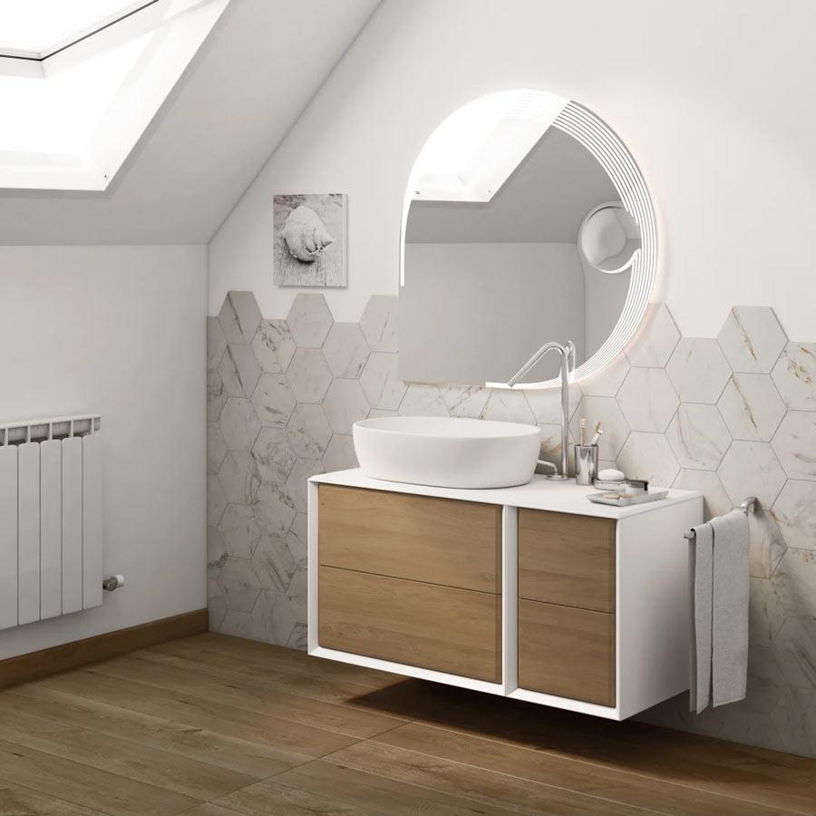 Mobile per il bagno bianco e legno di Leroy Merlin.