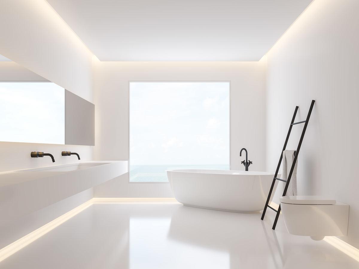Arredare il bagno della casa al mare, total white.