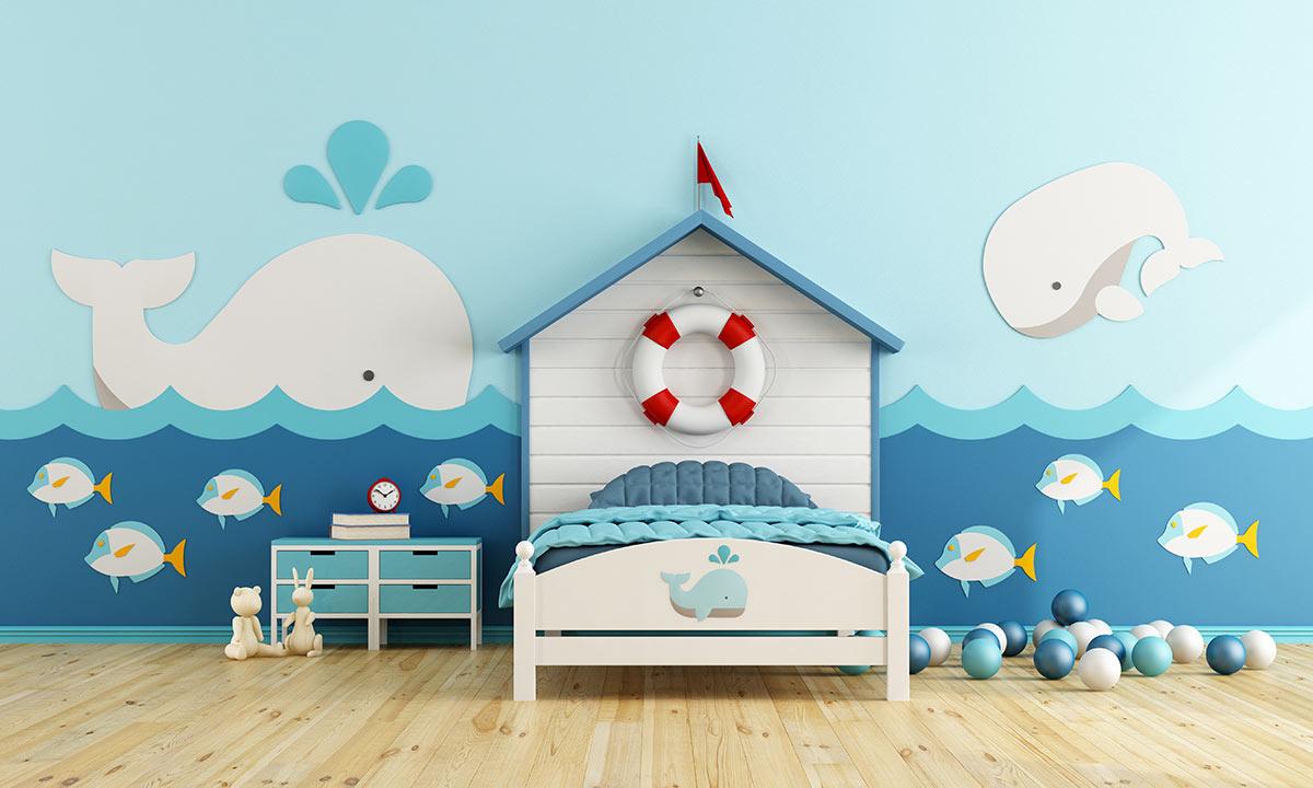 Arredamento cameretta per bambini della casa al mare.