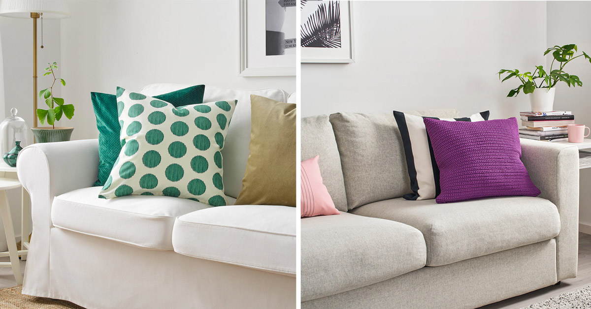 Cuscini IKEA per abbellire il divano in primavera 2020.