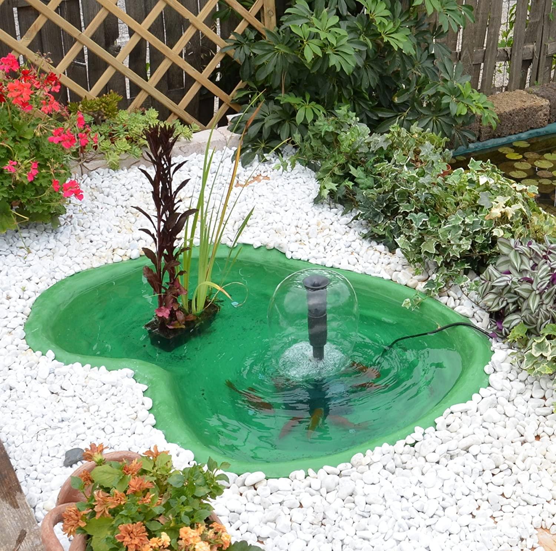Piccolo giardino d'acqua con sassi bianchi.