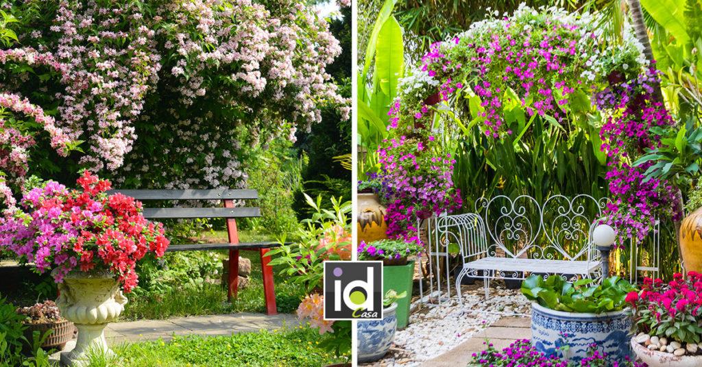 idee per un bel angolo panchina in giardino.