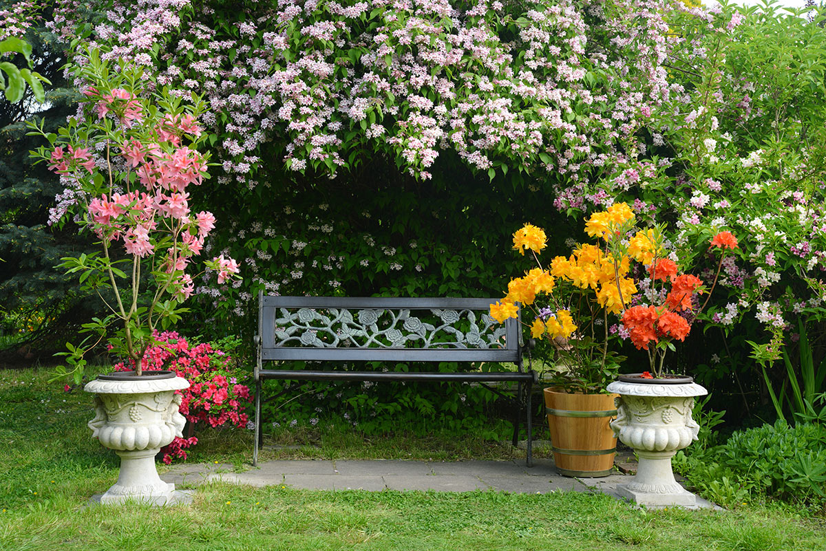 Angolo panchina in giardino con decorazioni in fiore.
