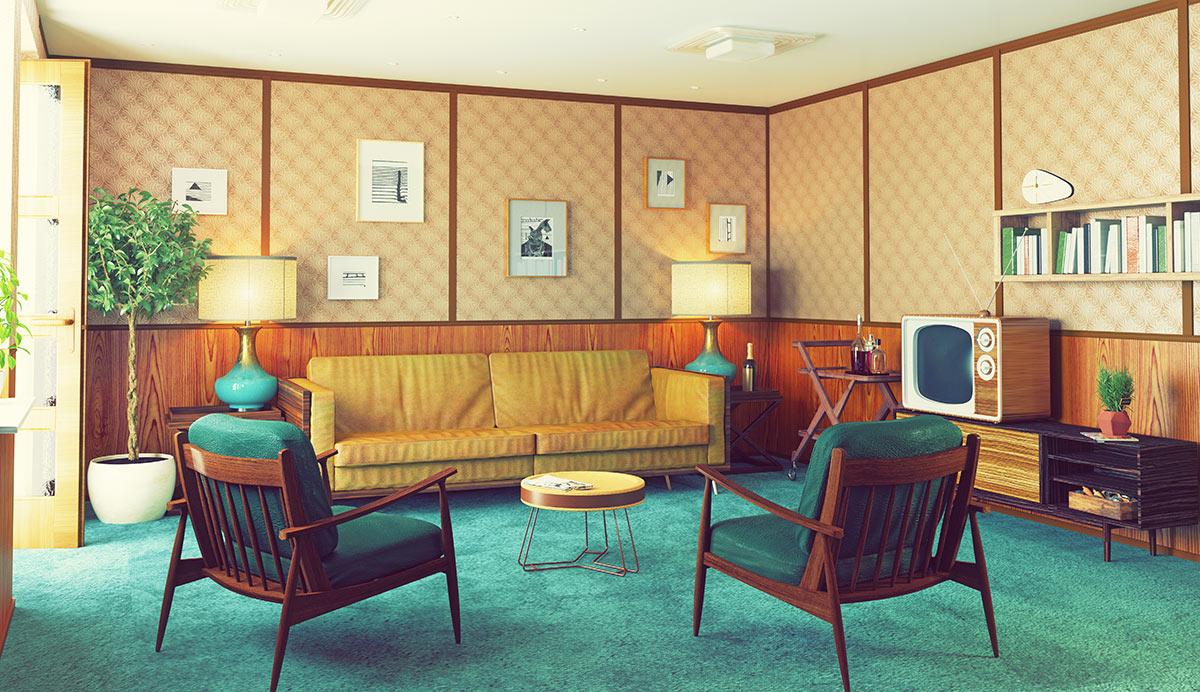 Salotto arredato nello stile vintage.