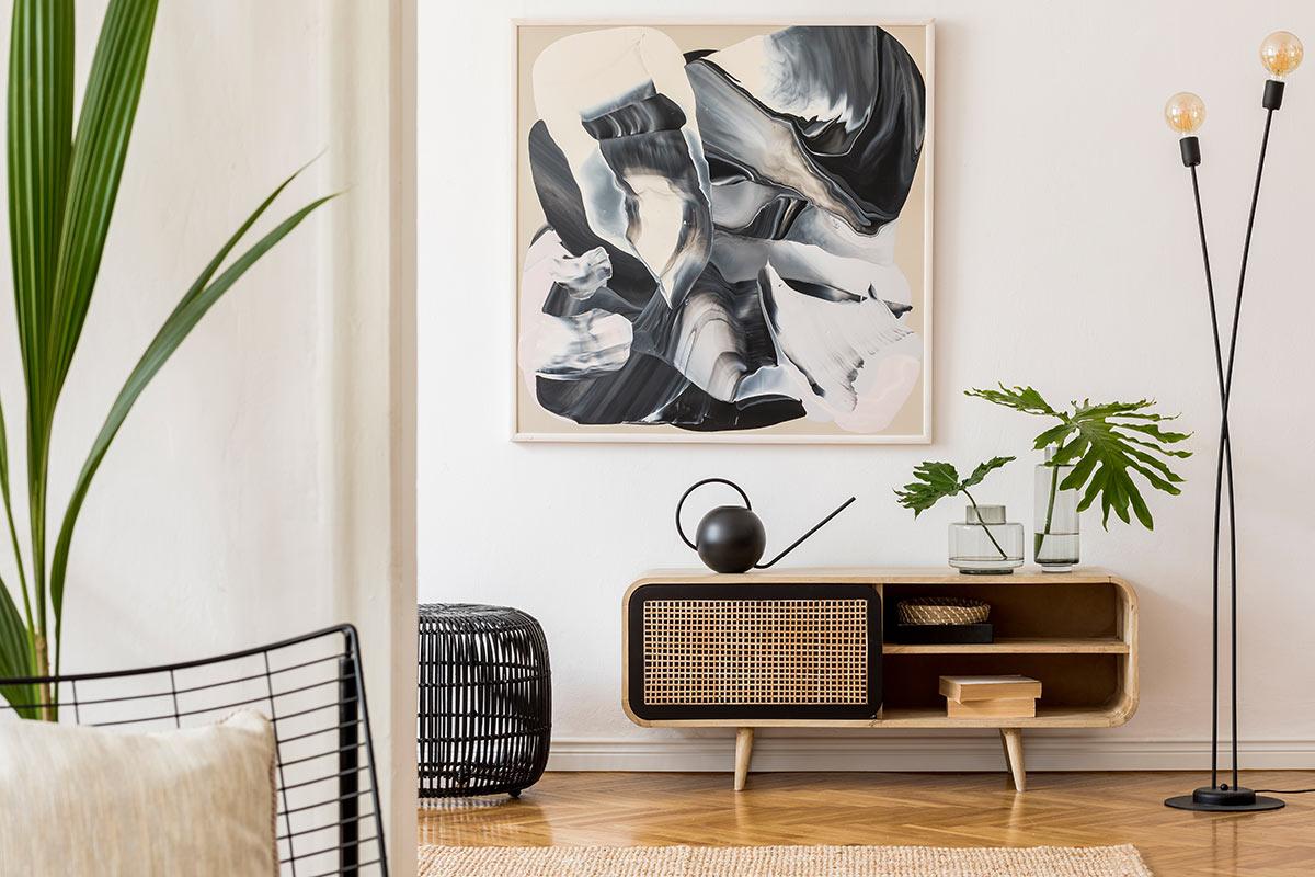 Consolle vintage moderno in casa.