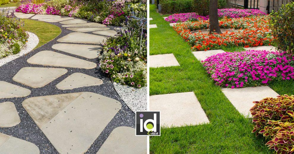 Camminamenti decorativi con pietre in giardino