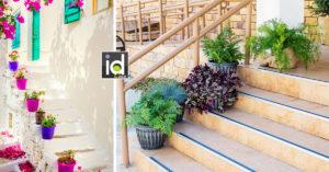 Decorare le scale esterne con vasi di fiori