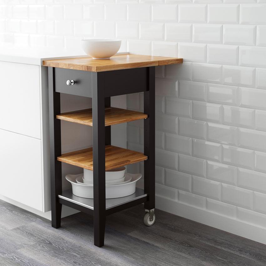 Carrello IKEA per la cucina nero con top e mensoline legno modello STENSTORP.