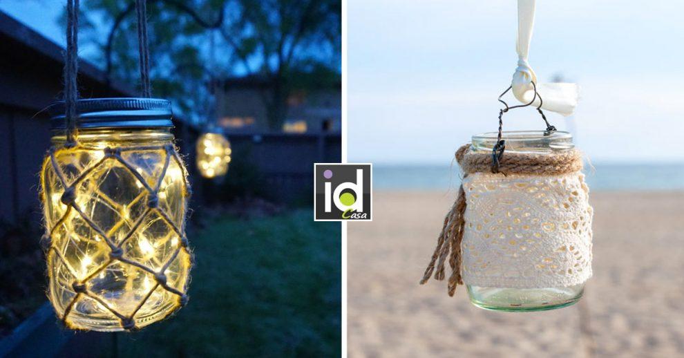 Lanterne fai da te con contenitori di vetro