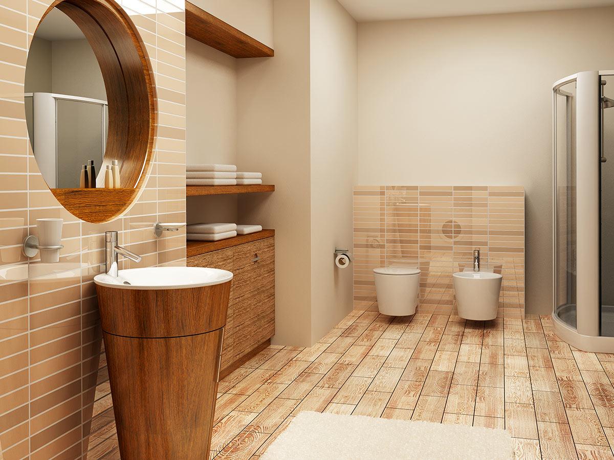 Mobilie lavabo in legno a forma di cilindro.