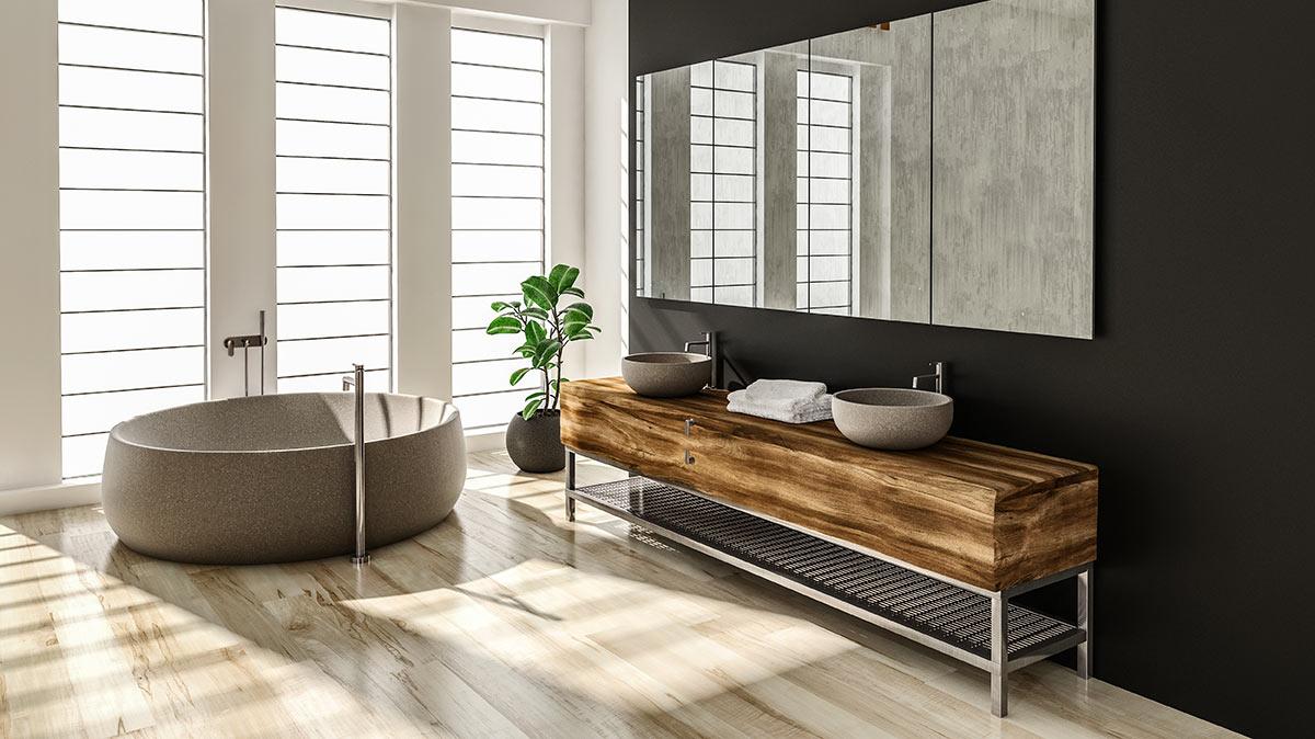 Mobili di legno in bagno.