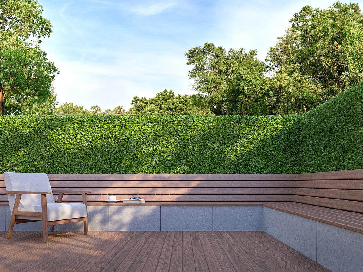 Piccolo recinto in legno con grande siepe offuscante.