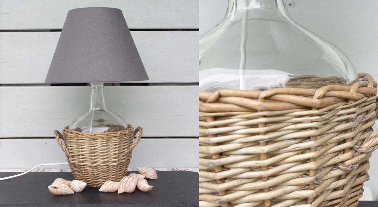 Riciclo creativo di una damigiana in una bella lampadina.