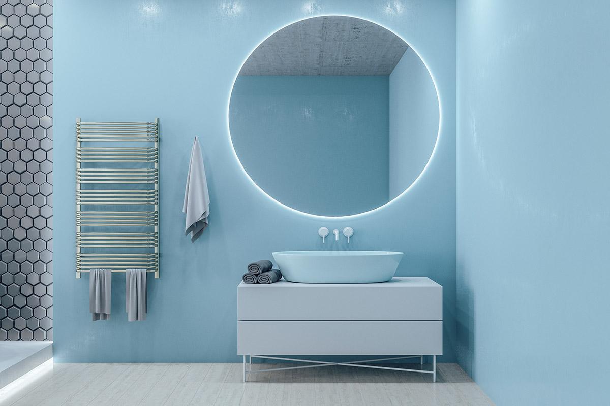 Specchio bagno tondo con illuminazione LED.