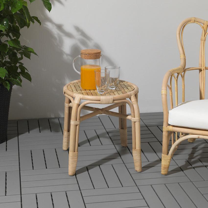 Sgabello design IKEA per giardino.