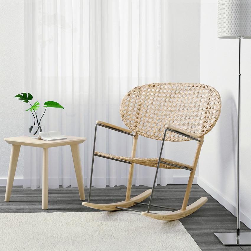 sedia a dondolo IKEA in rattan