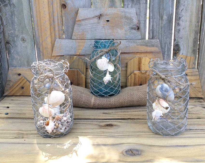 decorazioni estive fai da te con barattoli di vetro e conchiglie