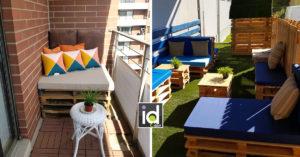 Balconi e terrazze con divanetti in pallet