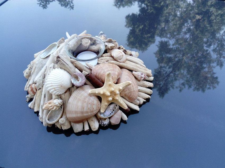 creazioni fai da te con legno di mare e conchiglie