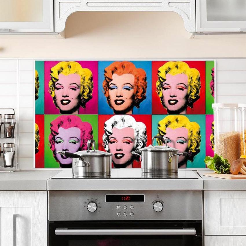 Paraschizzi per cucina con stampa Marilyn Pop art