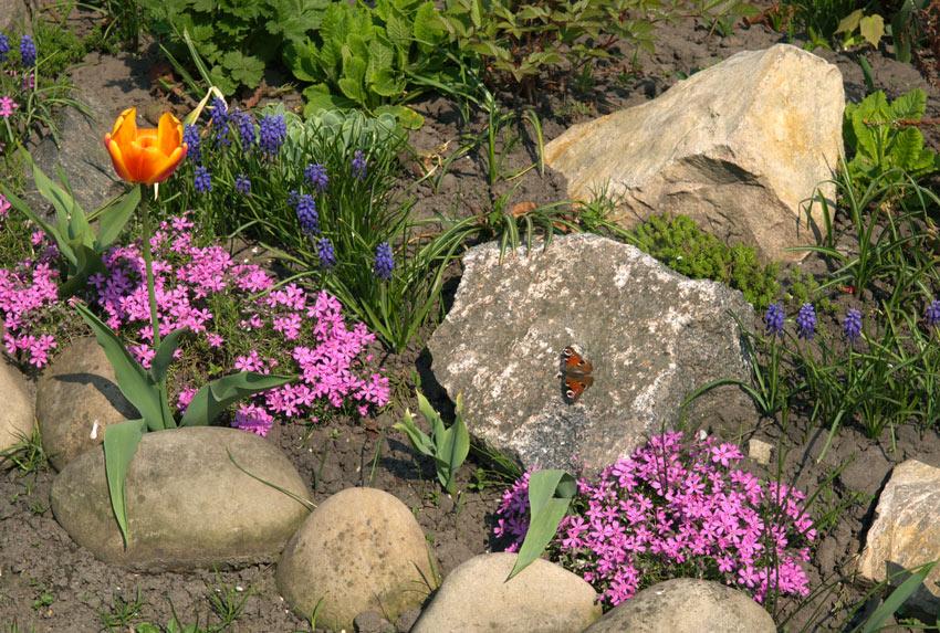 Aiuole con pietra naturale e fiori colorati.