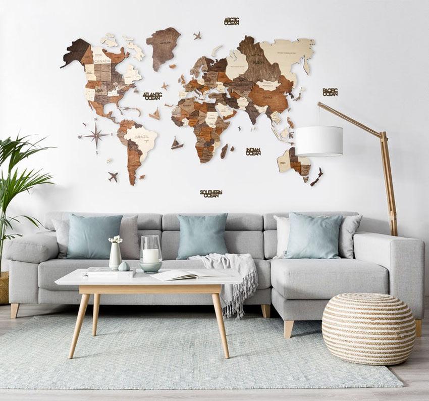 Bellissima mappa mondo in legno compensato da parete.