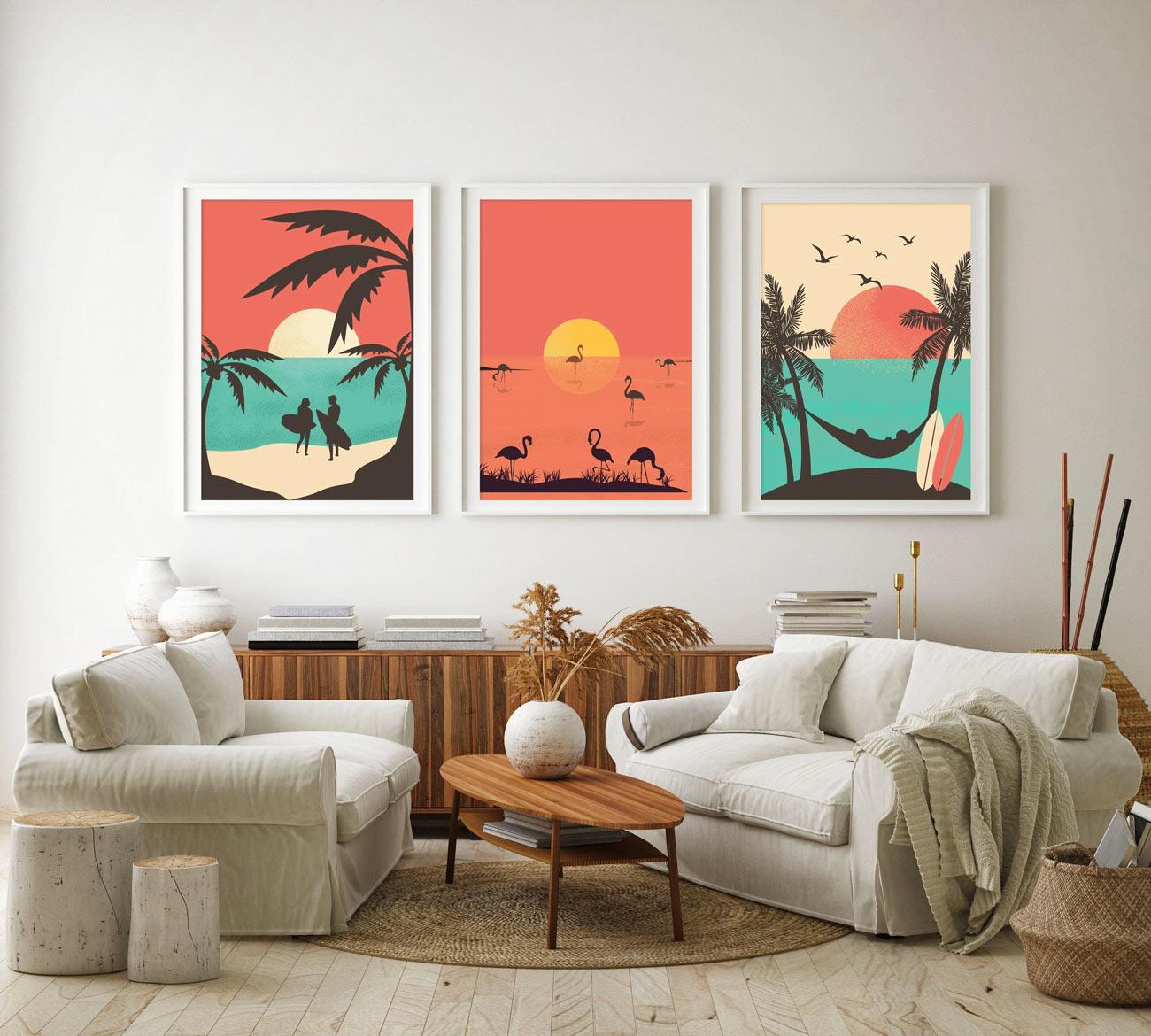 3 quadri moderni sul tema mare con tramonto.