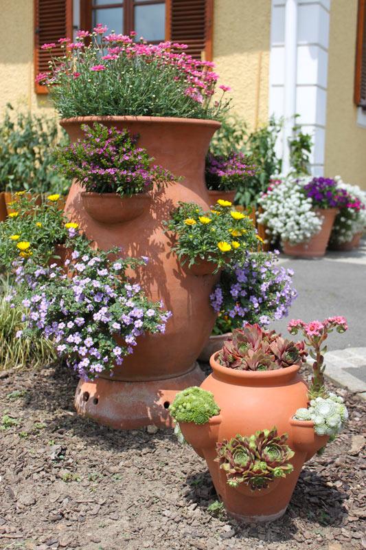 vasi di terracotta in giardino
