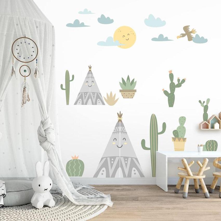 adesivi murali per camerette con cactus, tende degli indiani, nuvole e sole...