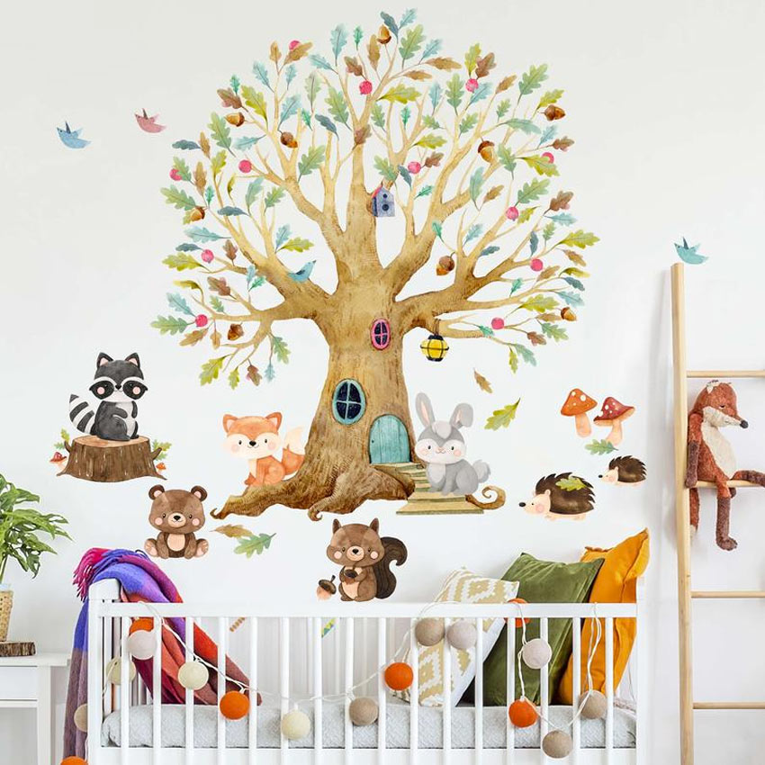 Adesivi murali per camerette bambini con alberi e foreste autunnali