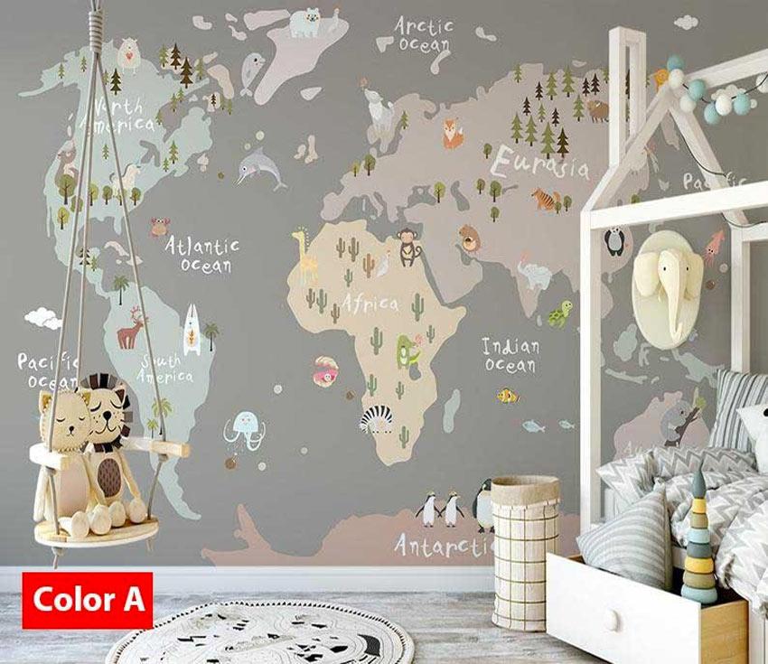 adesivo murale camerette bambini mappa del mondo