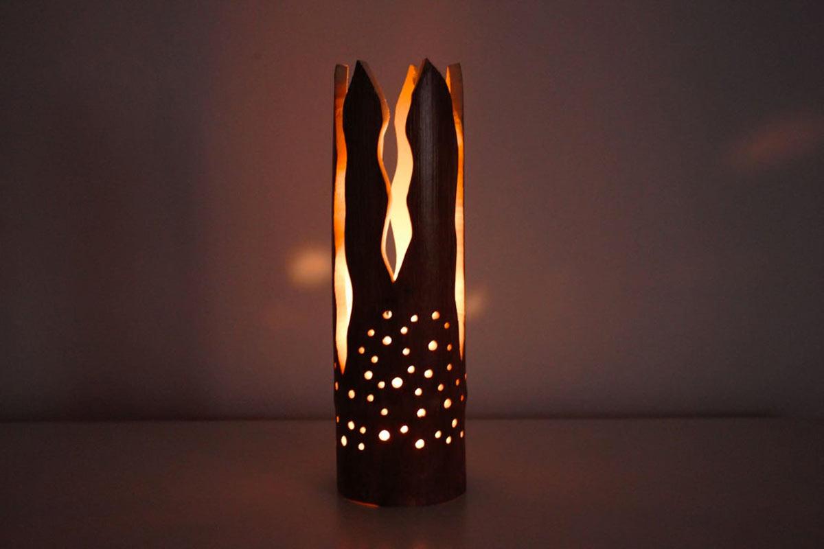 Lanterna in legno di bambù design fai da te.