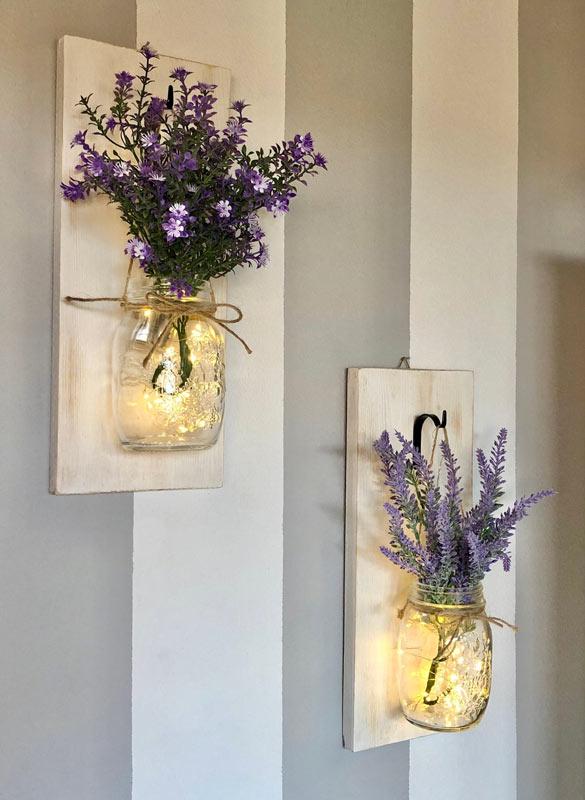 lanterne con fioriera fai da te con barattoli riciclati