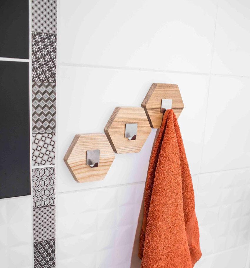porta asciugamani in legno creativi per il bagno