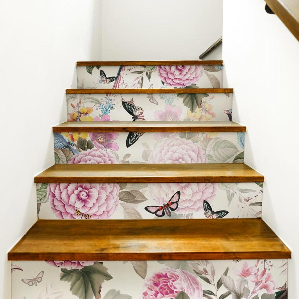 decorare le scale con gli adesivi shabby chic