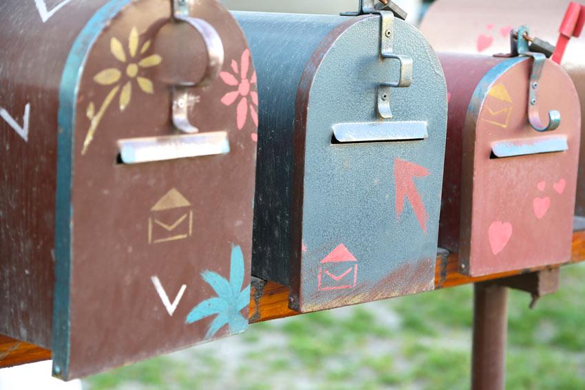 cassetta della posta colorate