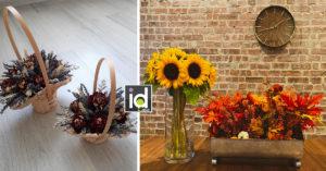 Un centrotavola floreale con i colori dell'autunno