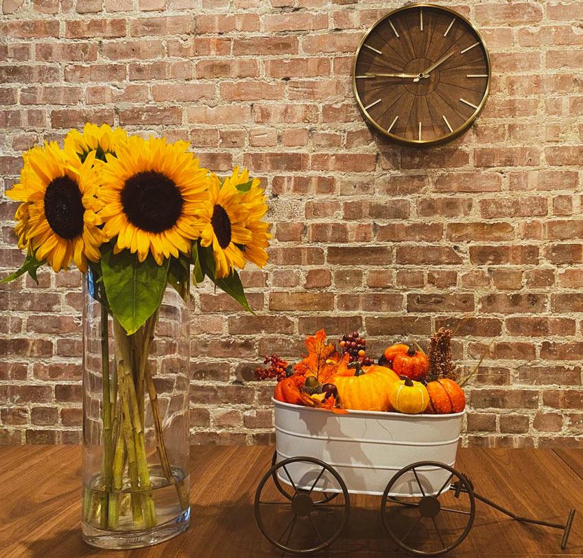 Centrotavola per decorare in autunno.