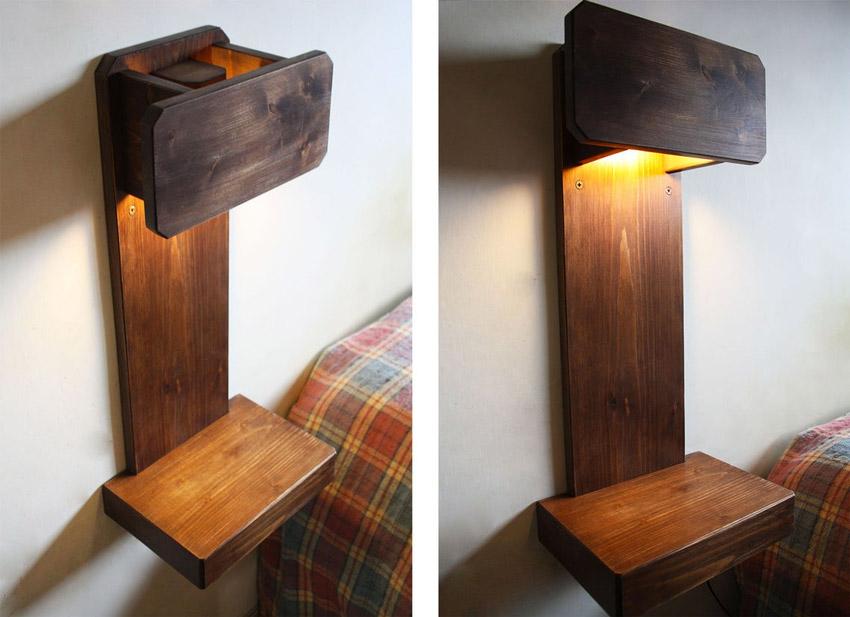 Comodino con lampada fai da te realizzato in legno.