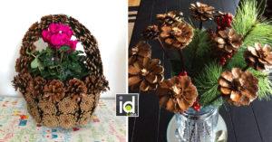 bellissime idee per decorare casa riciclando le pigne