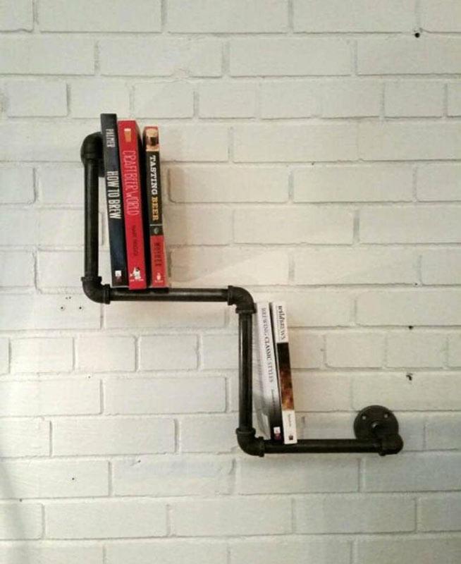 tubo industriale libreria vintage fai da te