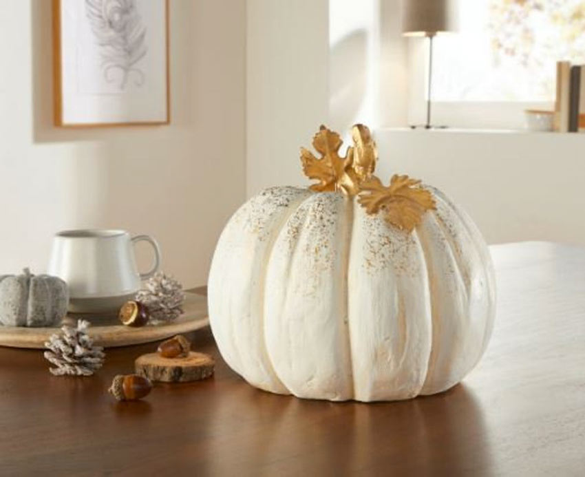 Zucca bianca per decorare casa in autunno.