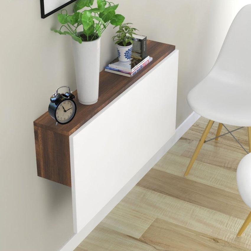 Tavolino salvaspazio da parete in legno, ideale per piccoli spazi.