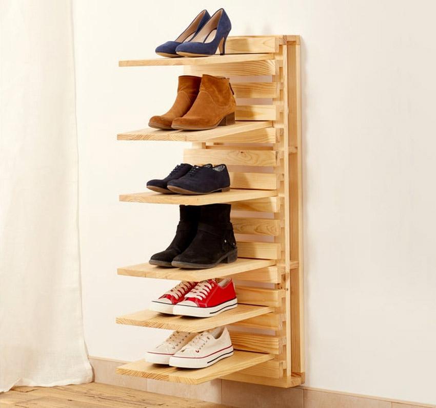 scarpiera in legno che si monta a parete
