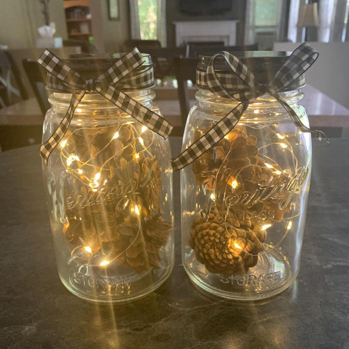lanterna autunnale fai da te con barattoli di vetro