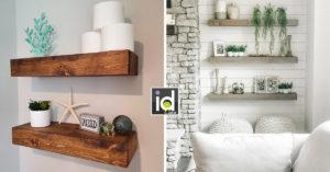 Mensole con tavole di legno per arredare una parete