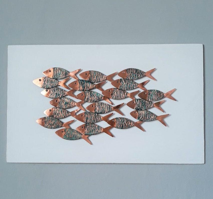 Pesci decorativi in rame.